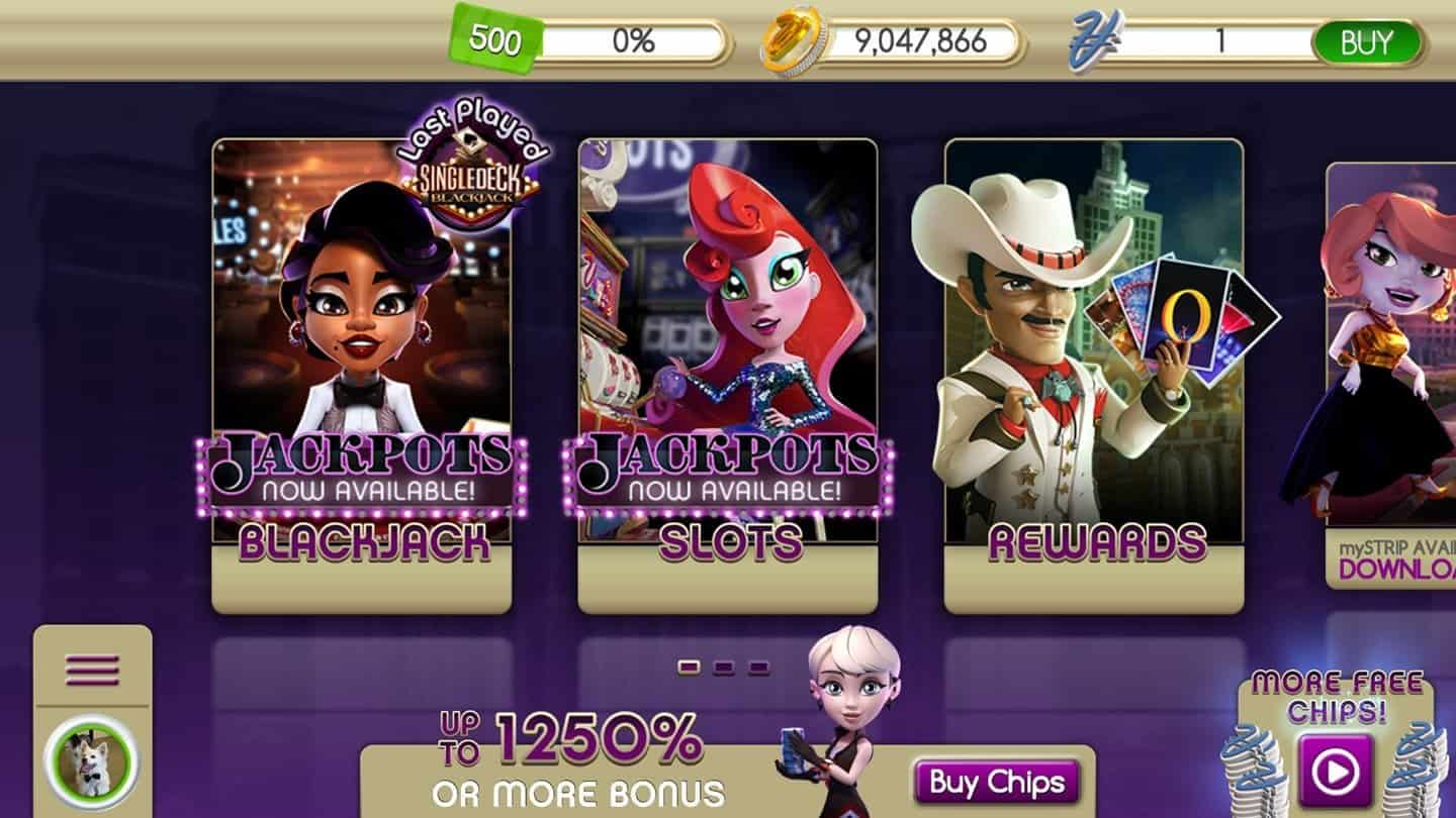 Image of myVEGAS Blackjack showing over 9 million loyalty points.