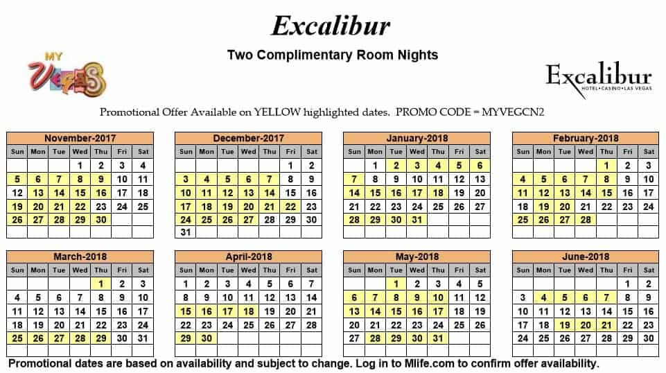 Image of Excalibur Hotel & Casino Las Vegas two complimentary room nights myVEGAS Slots calendar.