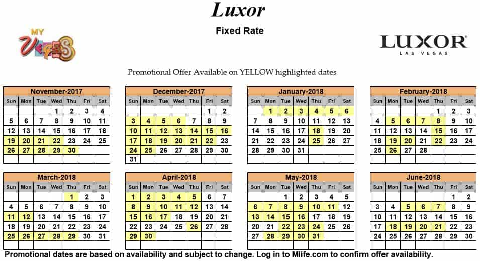 Image of Luxor Resort & Casino Las Vegas exclusive rates myVEGAS Slots calendar.