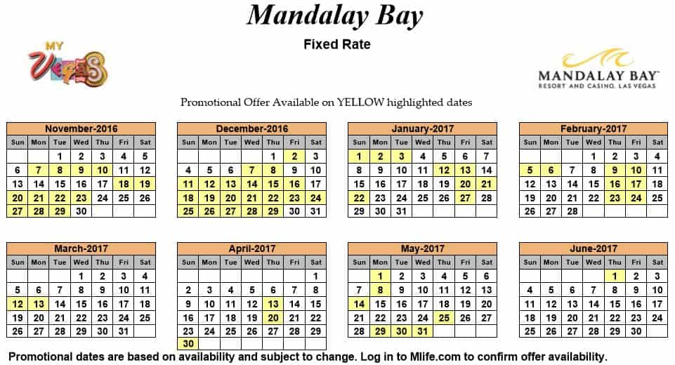 Image of Mandalay Bay Resort & Casino Las Vegas exclusive rates myVEGAS Slots calendar.