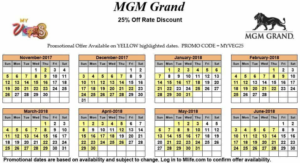 Image of MGM Grand Hotel & Casino Las Vegas 25% off room rates myVEGAS Slots calendar.