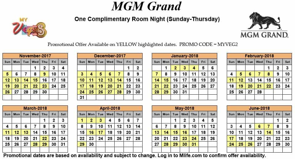 Image of MGM Grand Hotel & Casino Las Vegas one complimentary room night myVEGAS Slots calendar.