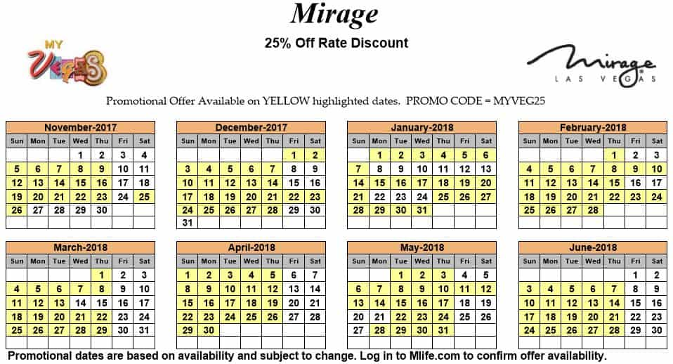 Image of Mirage Hotel & Casino Las Vegas 25% off room rates myVEGAS Slots calendar.