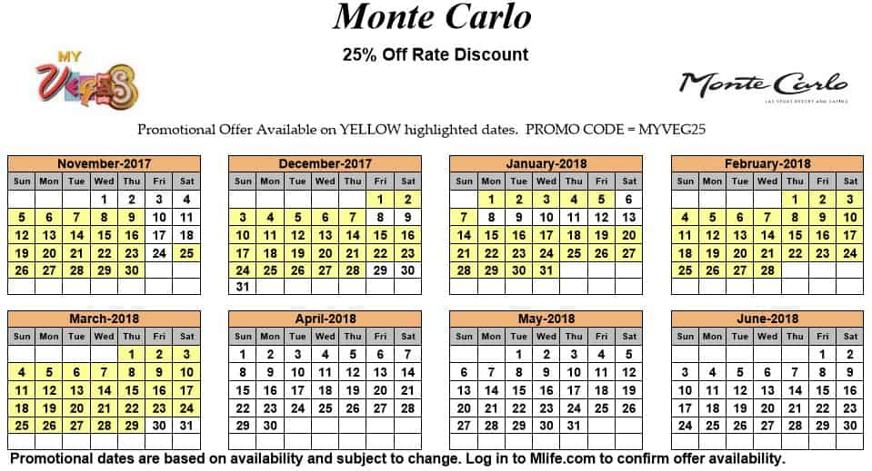 Image of Monte Carlo Resort & Casino Las Vegas 25% off room rates myVEGAS Slots calendar.