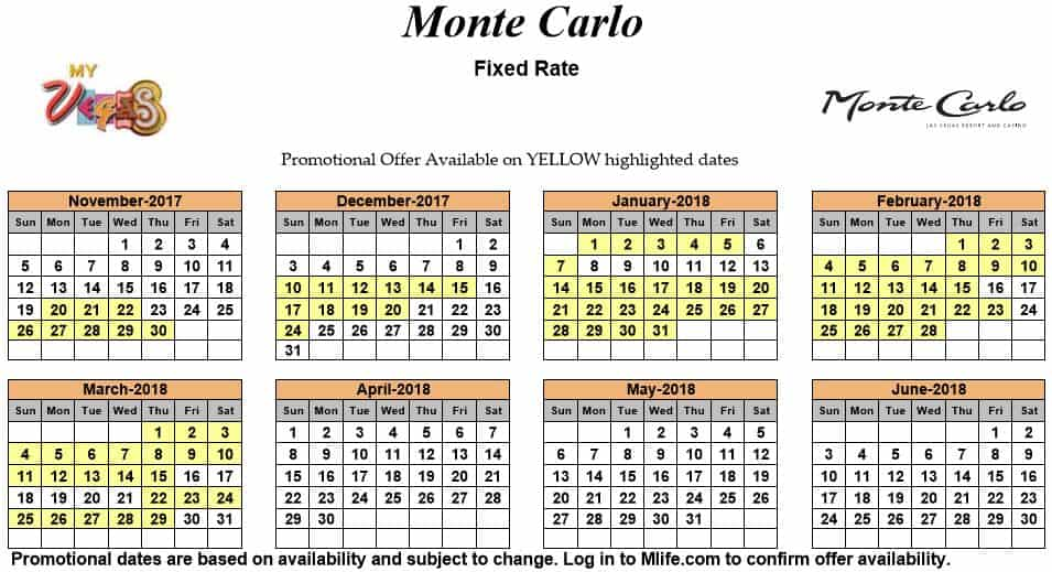 Image of Monte Carlo Resort & Casino Las Vegas exclusive rates myVEGAS Slots calendar.