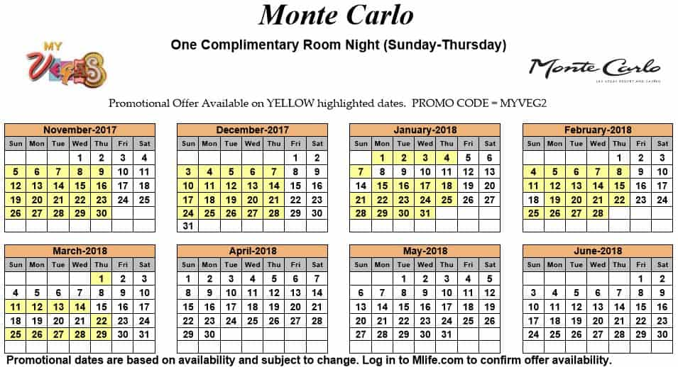 Image of Monte Carlo Resort & Casino Las Vegas one complimentary room night myVEGAS Slots calendar.