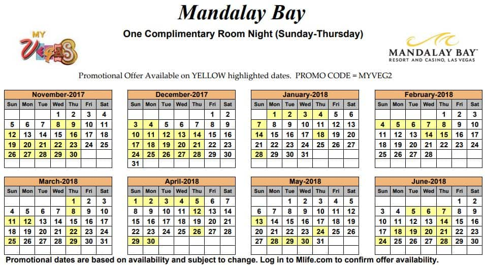 Image of Mandalay Resort & Casino Las Vegas one complimentary room night myVEGAS Slots calendar.