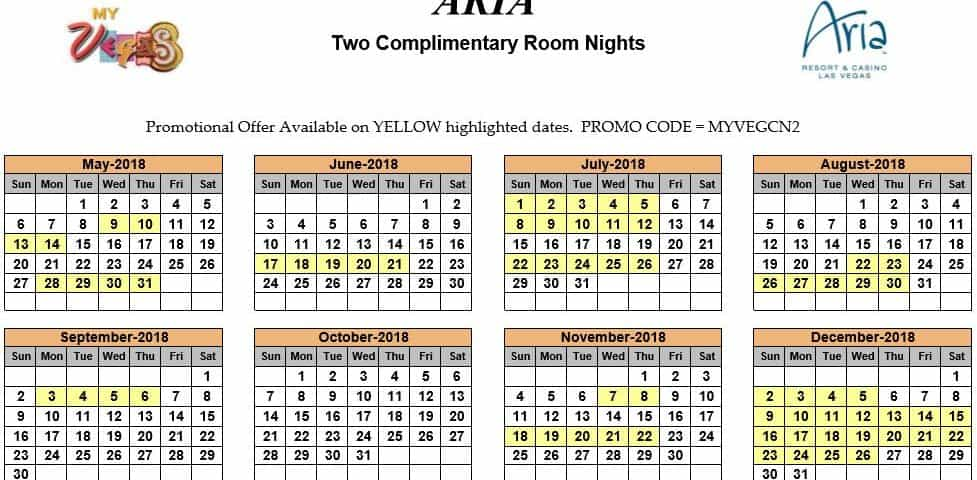 myVEGAS Two Complimentary Room Nights Calendar 2019