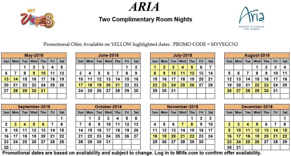 Image of Aria Hotel & Casino Las Vegas two complimentary room nights myVEGAS Slots calendar 2018.