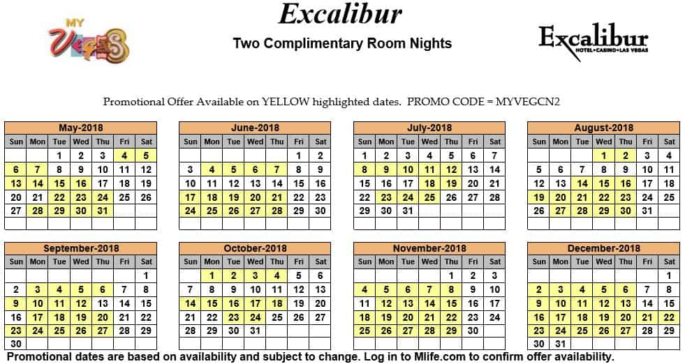 Image of Excalibur Hotel & Casino Las Vegas two complimentary room nights myVEGAS Slots calendar 2018.