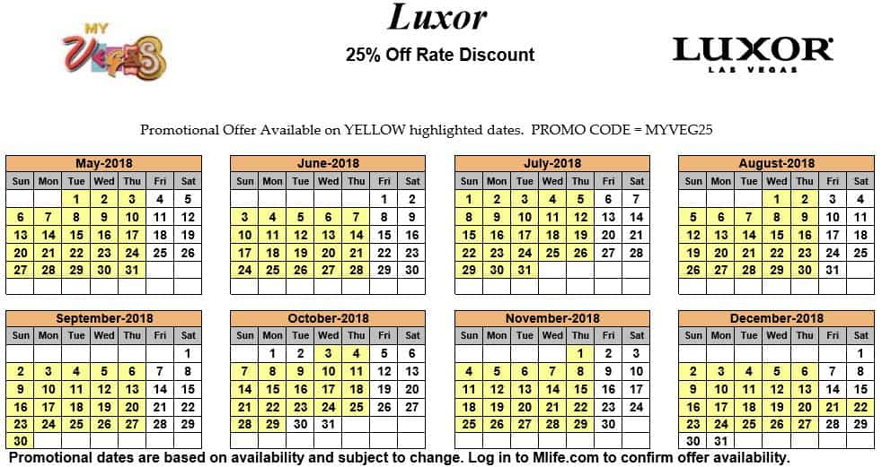 Image of Luxor Resort & Casino Las Vegas 25% off room rates myVEGAS Slots calendar 2018.