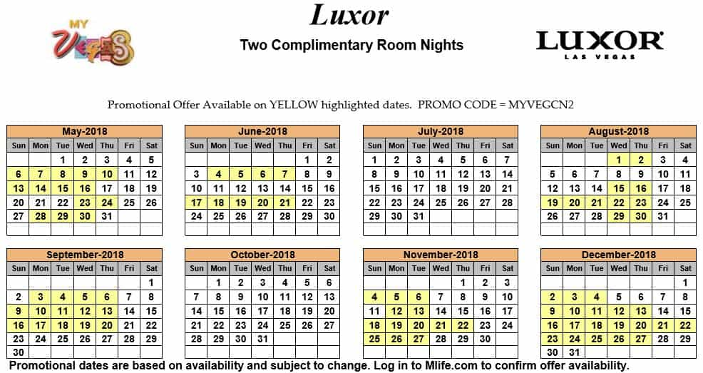 Image of Luxor Resort & Casino Las Vegas two complimentary room nights myVEGAS Slots calendar.