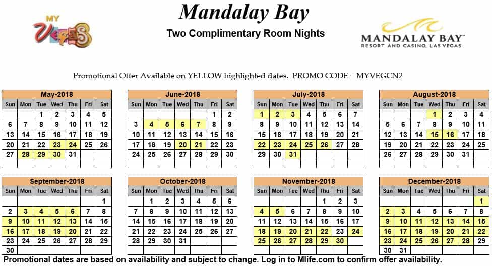 Image of Mandalay Bay Hotel & Spa Las Vegas two complimentary room nights myVEGAS Slots calendar.