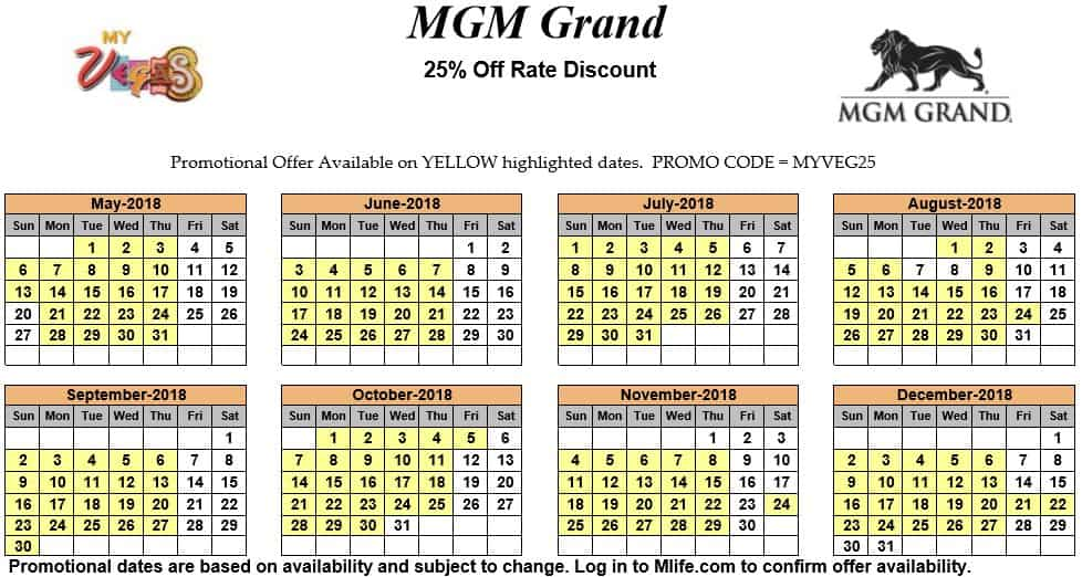 Image of MGM Grand Hotel & Casino Las Vegas 25% off room rates myVEGAS Slots calendar 2018.