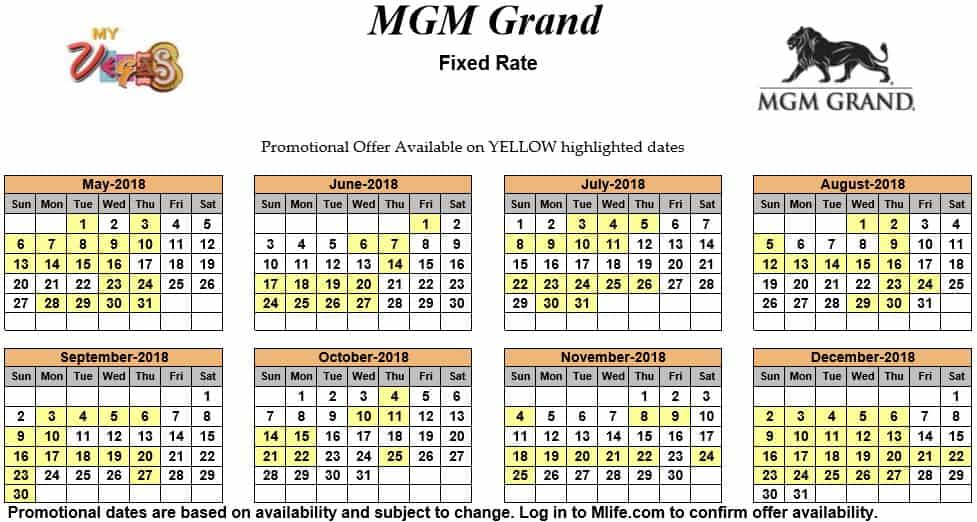 Image of MGM Grand Hotel & Casino Las Vegas exclusive rates myVEGAS Slots calendar 2018.