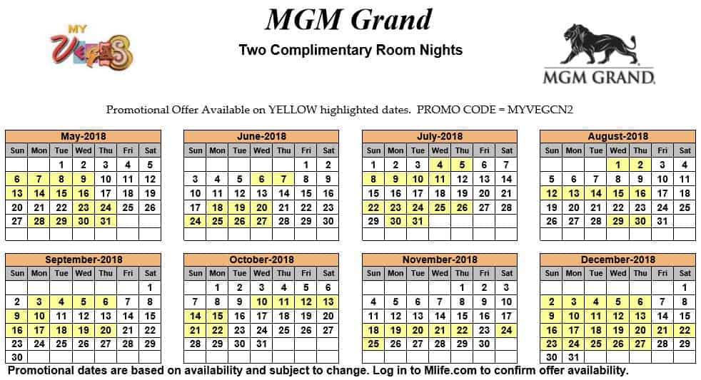 Image of MGM Grand Hotel & Casino Las Vegas two complimentary room nights myVEGAS Slots calendar 2018.