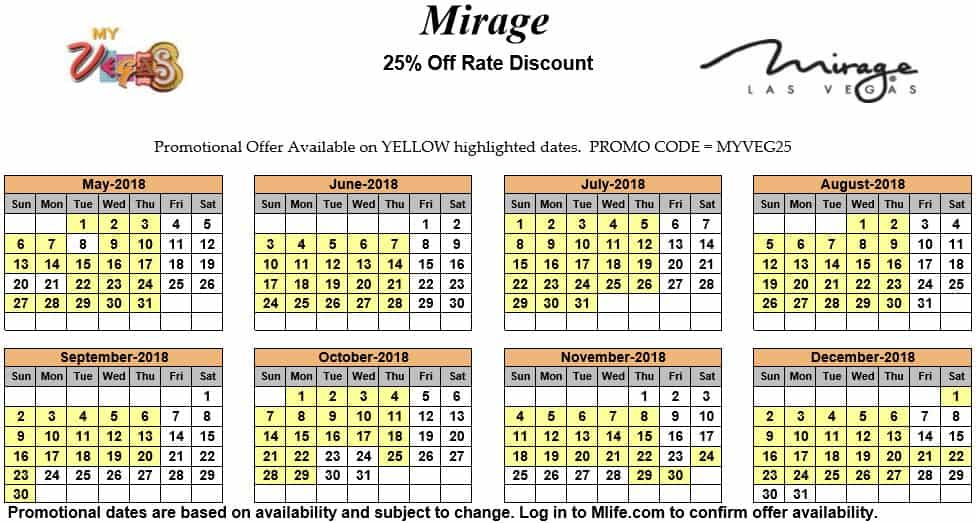 Image of Mirage Hotel & Casino Las Vegas 25% off room rates myVEGAS Slots calendar 2018.