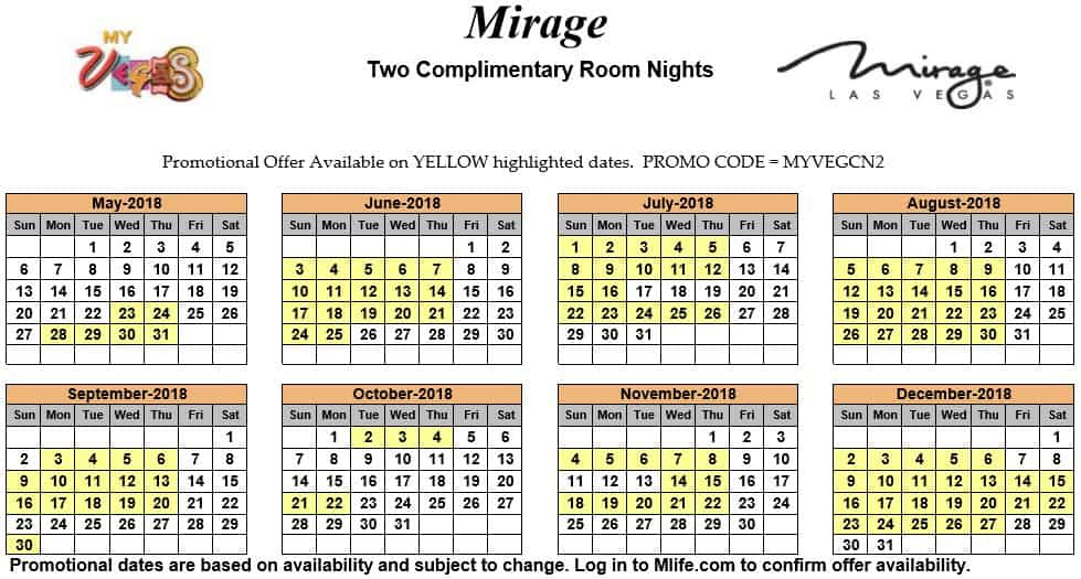 Image of Mirage Hotel & Casino Las Vegas two complimentary room nights myVEGAS Slots calendar 2018.