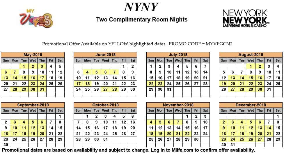 Image of New York New York Hotel & Casino Las Vegas two complimentary room nights myVEGAS Slots calendar.