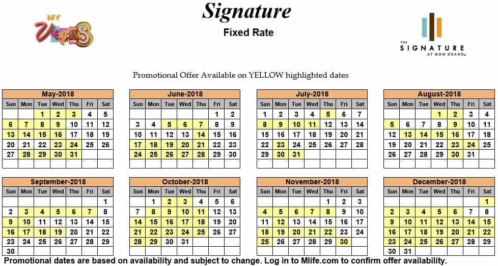 Image of Signature at MGM Grand All-Suite Hotel Las Vegas exclusive rates myVEGAS Slots calendar 2018.
