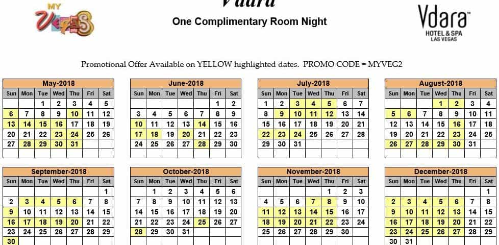 Myvegas One Complimentary Room Night Calendars 2019