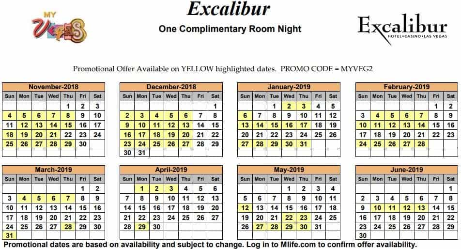 Image of Excalibur Hotel & Casino Las Vegas one complimentary room night myVEGAS Slots calendar 2019.