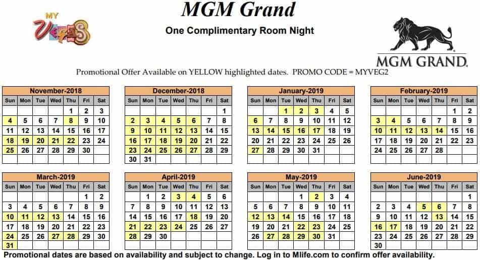 Image of MGM Grand Hotel & Casino Las Vegas one complimentary room night myVEGAS Slots calendar 2019.