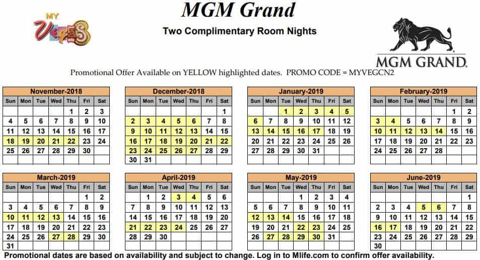 Image of MGM Grand Hotel & Casino Las Vegas two complimentary room nights myVEGAS Slots calendar.