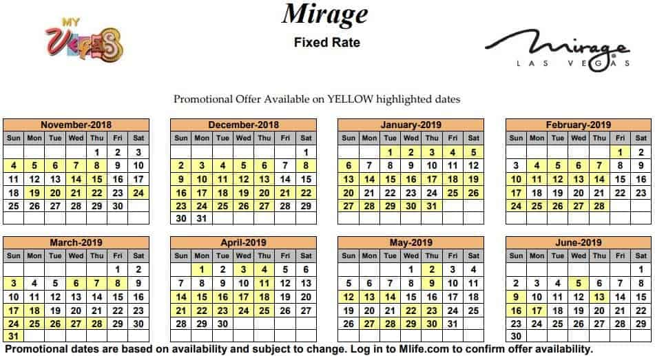 Image of Mirage Hotel & Casino Las Vegas exclusive rates myVEGAS Slots calendar.