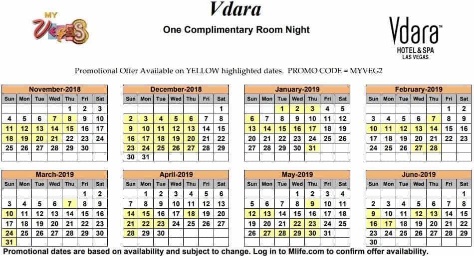 Image of Vdara Hotel & Spa Las Vegas one complimentary room night myVEGAS Slots calendar 2019.