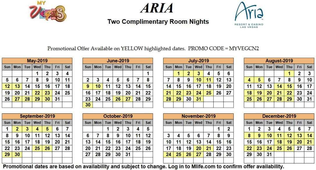 Image of Aria Hotel & Casino Las Vegas two complimentary room nights myVEGAS Slots calendar.