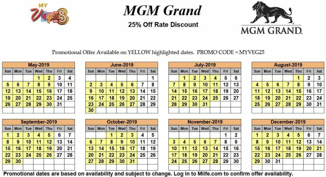 Image of MGM Grand Hotel & Casino Las Vegas 25% off room rates myVEGAS Slots calendar 2019.