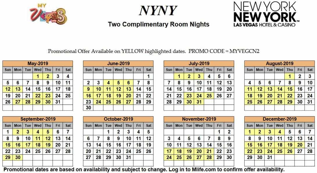 Image of New York New York Hotel & Casino Las Vegas two complimentary room nights myVEGAS Slots calendar 2019.