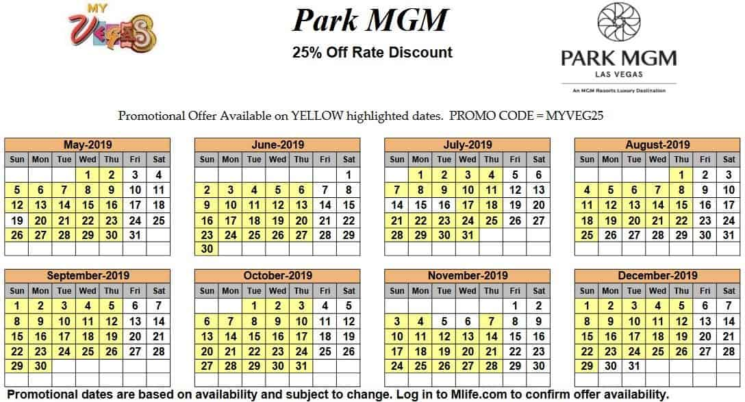 Image of Park MGM Resort & Casino Las Vegas 25% off room rates myVEGAS Slots calendar.