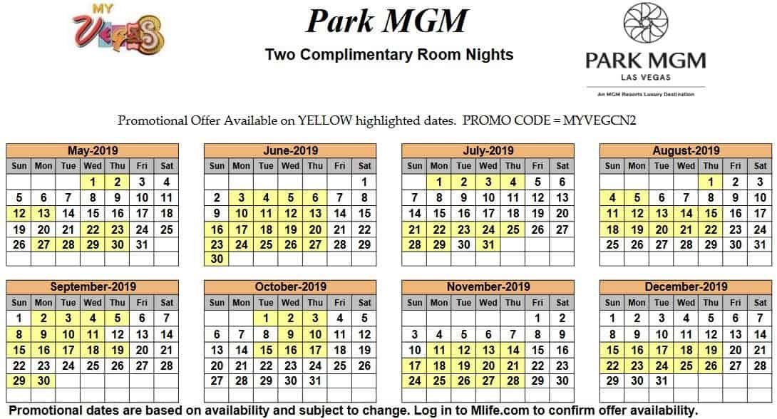Image of Park MGM Hotel & Casino Las Vegas two complimentary room nights myVEGAS Slots calendar.