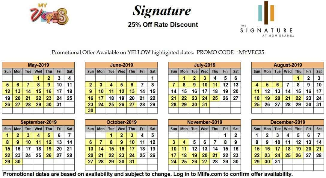 Image of Signature at MGM Grand All-Suite Hotel Las Vegas 25% off room rates myVEGAS Slots calendar 2019.