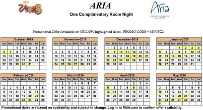 Image of Aria Hotel & Casino Las Vegas one complimentary room night myVEGAS Slots calendar 2019.