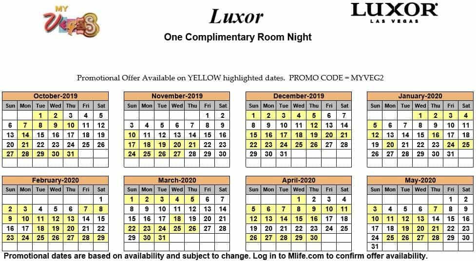 Image of Luxor Resort & Casino Las Vegas one complimentary room night myVEGAS Slots calendar.