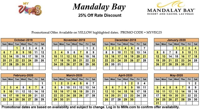 Image of Mandalay Bay Resort & Casino Las Vegas 25% off room rates myVEGAS Slots calendar 2020.