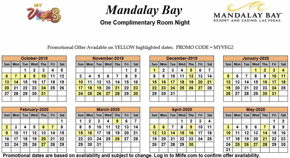 Image of Mandalay Bay Hotel & Spa Las Vegas one complimentary room night myVEGAS Slots calendar.