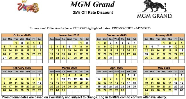Image of MGM Grand Hotel & Casino Las Vegas 25% off room rates myVEGAS Slots calendar 2020.