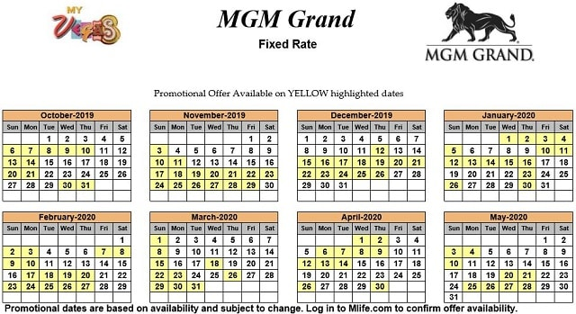 Image of MGM Grand Hotel & Casino Las Vegas exclusive rates myVEGAS Slots calendar 2019.