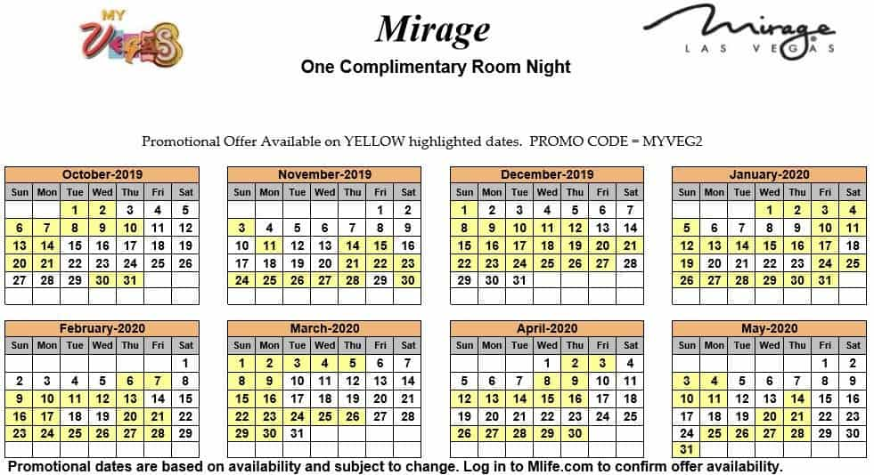 Image of Mirage Hotel & Casino Las Vegas one complimentary room night myVEGAS Slots calendar 2019.