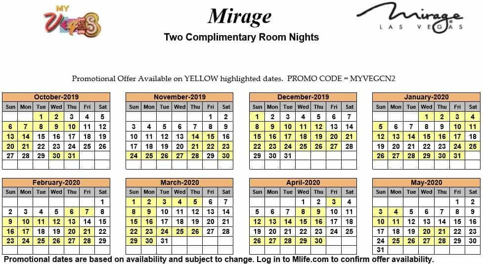 Image of Mirage Hotel & Casino Las Vegas two complimentary room nights myVEGAS Slots calendar.