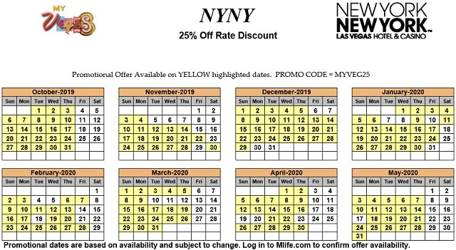 Image of New York New York Hotel & Casino Las Vegas 25% off room rates myVEGAS Slots calendar 2020.