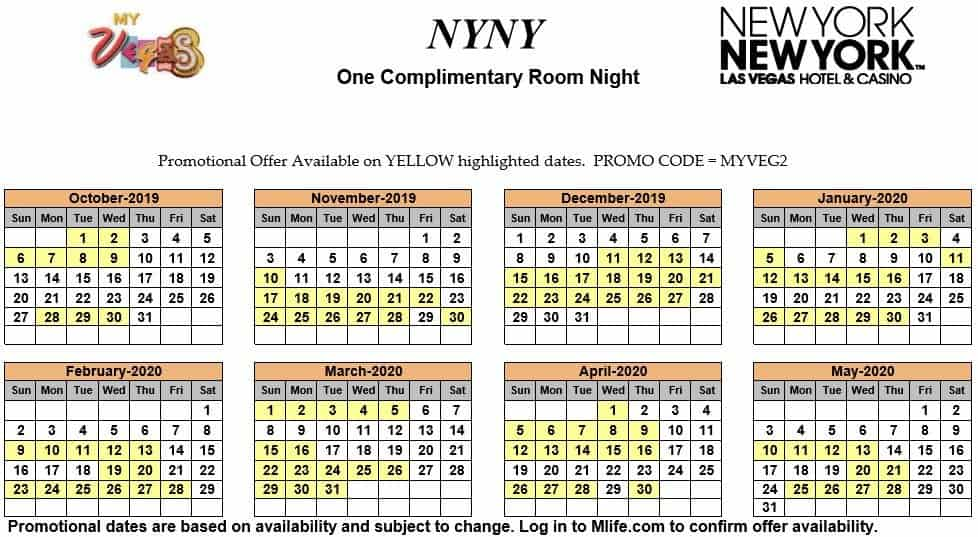 Image of New York New York Hotel & Casino Las Vegas one complimentary room night myVEGAS Slots calendar 2019.