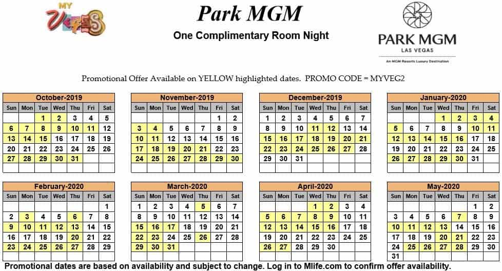 Image of Park MGM Resort & Casino Las Vegas one complimentary room night myVEGAS Slots calendar.