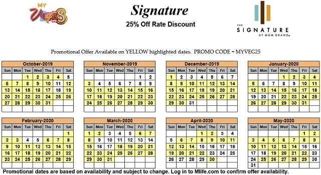 Image of Signature at MGM Grand All-Suite Hotel Las Vegas 25% off room rates myVEGAS Slots calendar 2020.