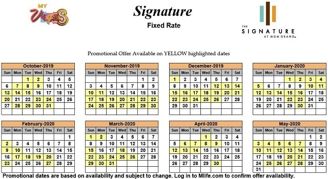 Image of Signature at MGM Grand All-Suite Hotel Las Vegas exclusive rates myVEGAS Slots calendar.
