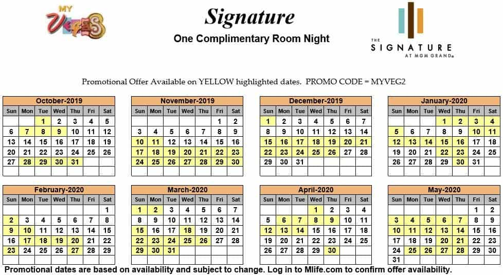 Image of Signature at MGM Grand Hotel Las Vegas one complimentary room night myVEGAS Slots calendar.